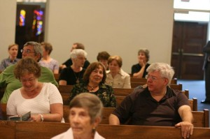 church goers in the Sanctuary at Christ Memorial Presbyterian Church in Columbia, MD