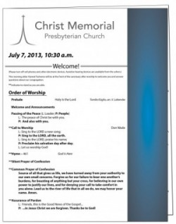 worship bulletin, christ memorial presbyterian church