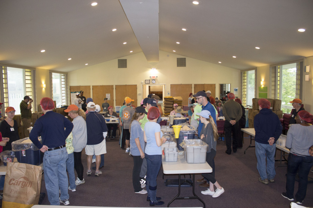 With five meal packing stations, we were able to package 5,000 meals an hour.